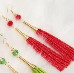 Red bead fringe earrings